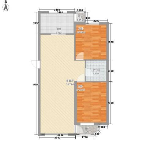 金都嘉园2室1厅1卫1厨76.00㎡户型图