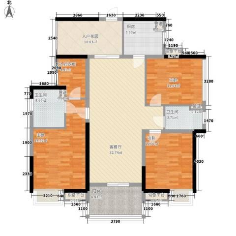 中信凯旋公馆3室1厅2卫1厨131.00㎡户型图