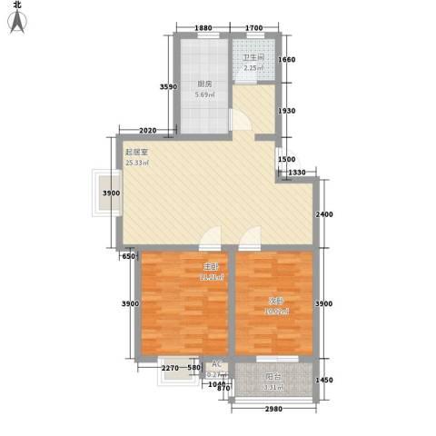 白马服装城2室0厅1卫1厨58.07㎡户型图