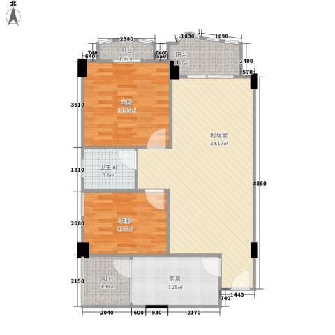 龙福花园2室0厅1卫1厨96.00㎡户型图