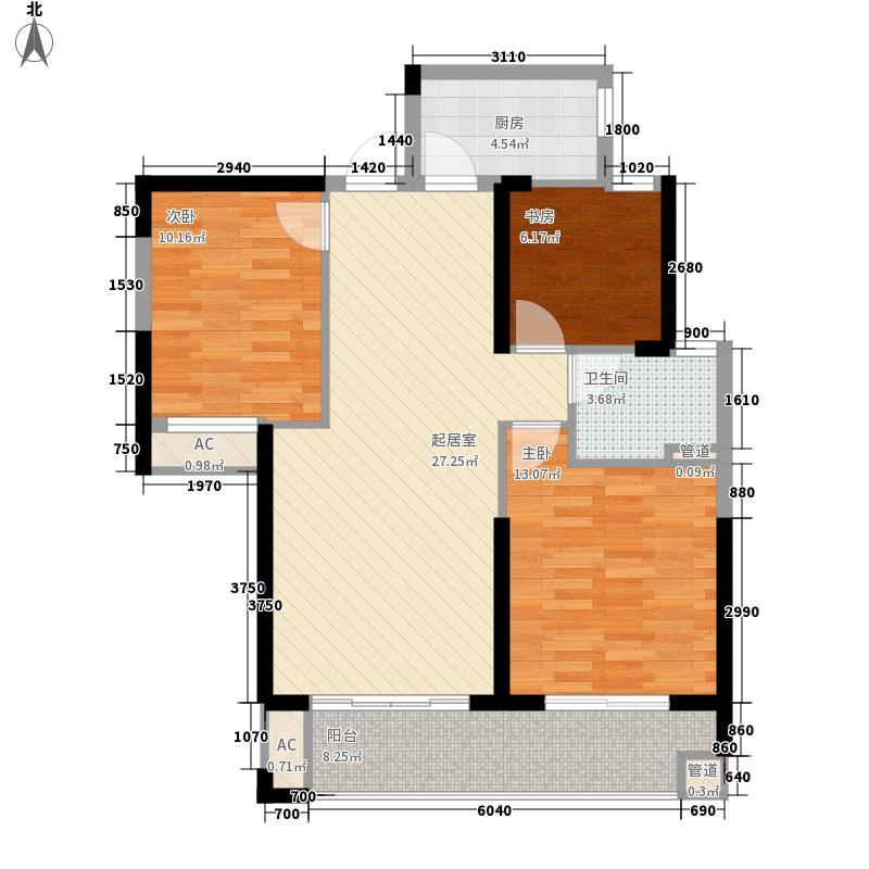 保利百合98.00㎡B户型3室2厅1卫1厨