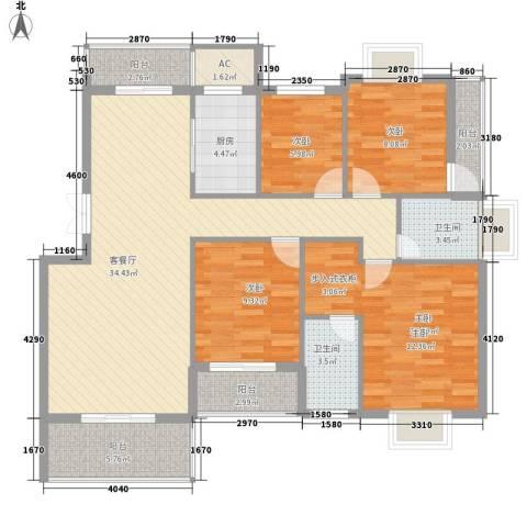 山水清华4室1厅2卫1厨142.00㎡户型图