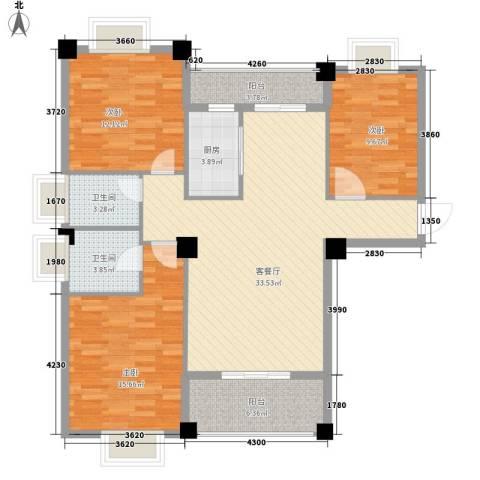 山水清华3室1厅2卫1厨92.15㎡户型图
