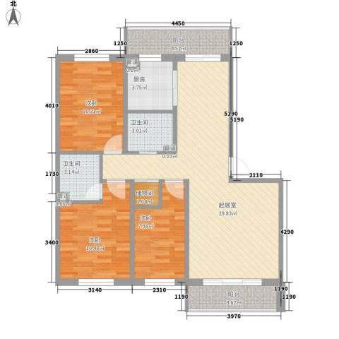 枫林时代3室0厅2卫1厨111.00㎡户型图