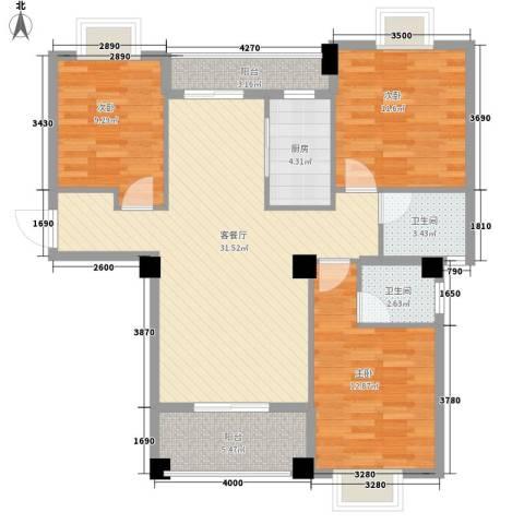 山水清华3室1厅2卫1厨84.28㎡户型图