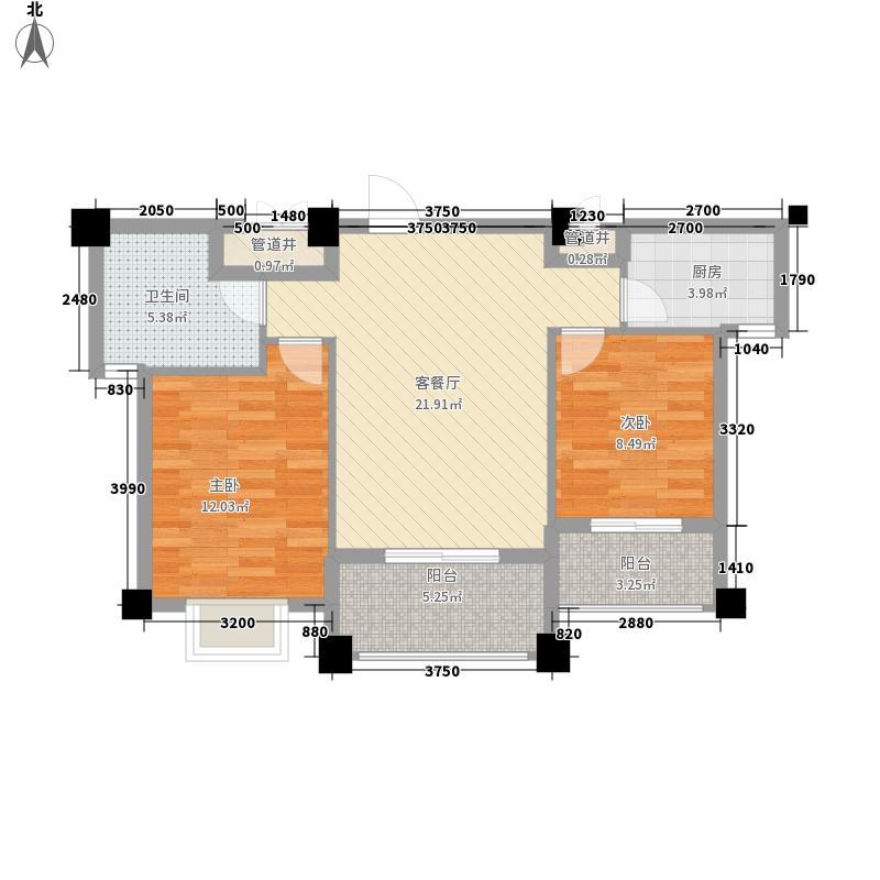 山水清华88.30㎡二期高层E户型2室2厅1卫1厨