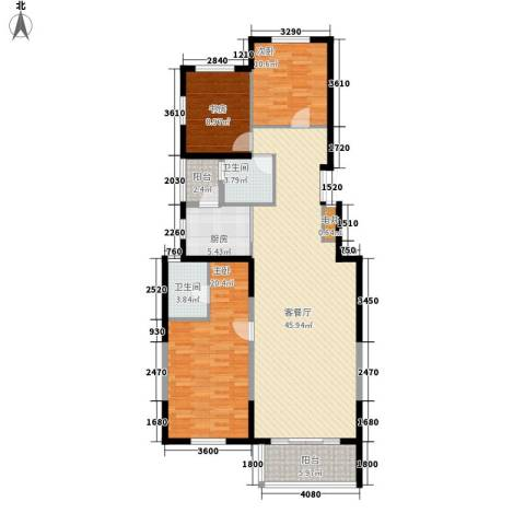 晶城秀府3室1厅2卫1厨132.00㎡户型图