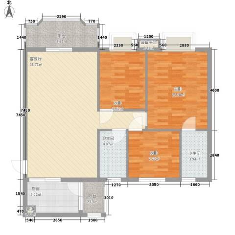 明日嘉园3室1厅2卫1厨115.00㎡户型图