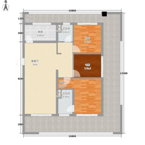 中交绿城・高福小镇3室1厅2卫1厨180.00㎡户型图