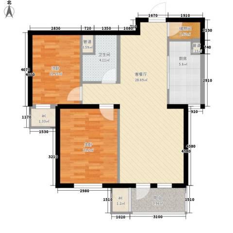 肿瘤医院家属楼2室1厅1卫1厨89.00㎡户型图