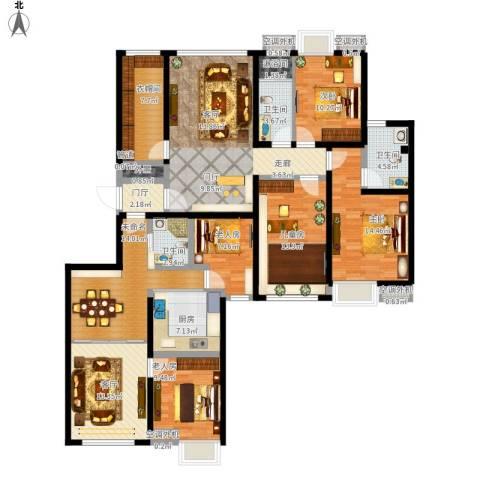 珠光御景5室1厅3卫1厨208.00㎡户型图