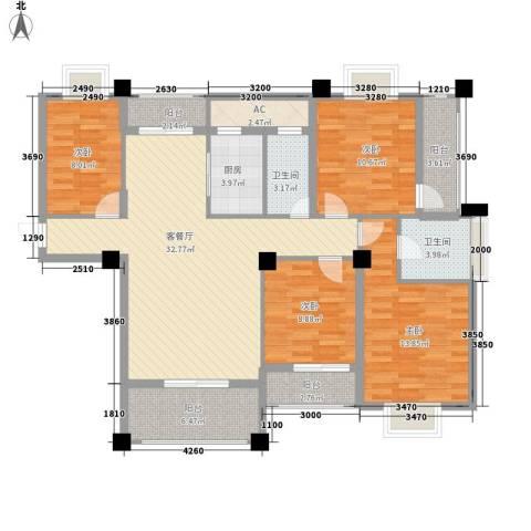山水清华4室1厅2卫1厨147.00㎡户型图