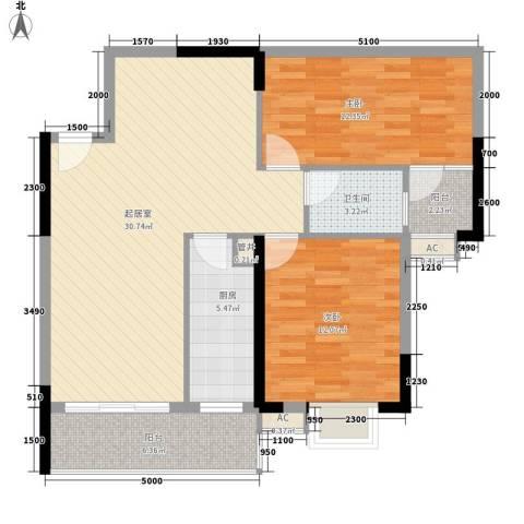 东方国际星座2室0厅1卫1厨98.00㎡户型图