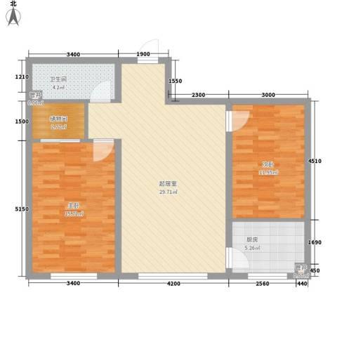 粮食厅宿舍2室0厅1卫1厨98.00㎡户型图