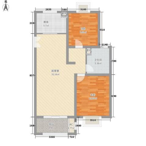 绿地观邸2室0厅1卫1厨103.00㎡户型图
