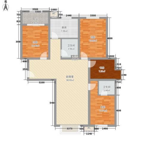 粮食厅宿舍4室0厅2卫1厨147.00㎡户型图