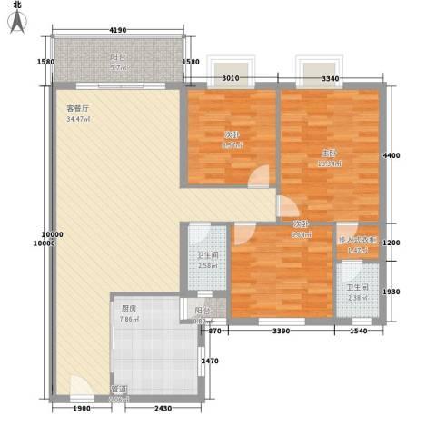 翠怡居住宅3室1厅2卫1厨122.00㎡户型图