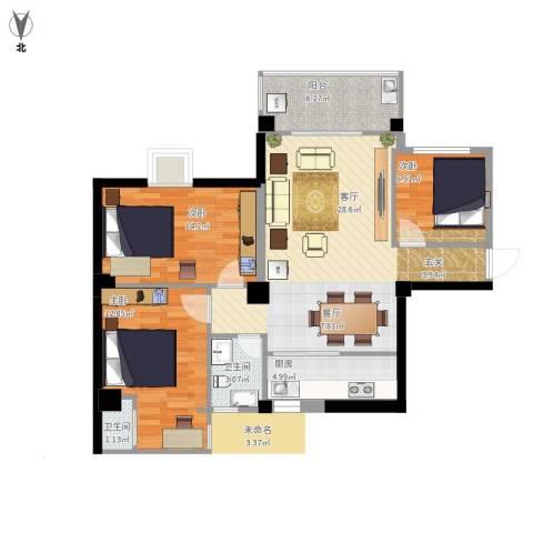 鸿源尚品3室1厅2卫1厨108.00㎡户型图