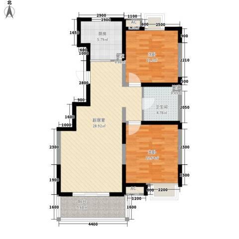 顺义金宝城2室0厅1卫1厨92.00㎡户型图