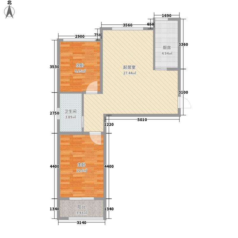 逸景中央美墅85.00㎡观筑户型图A1户型2室2厅1卫1厨户型2室2厅1卫1厨