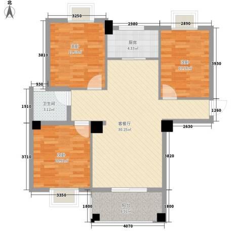 山水清华3室1厅1卫1厨75.81㎡户型图