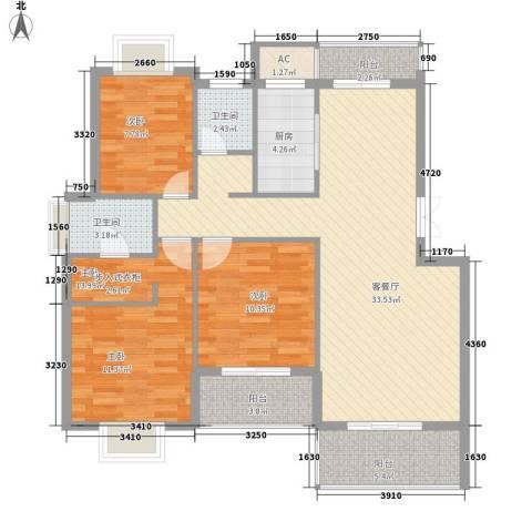 山水清华3室1厅2卫1厨125.00㎡户型图