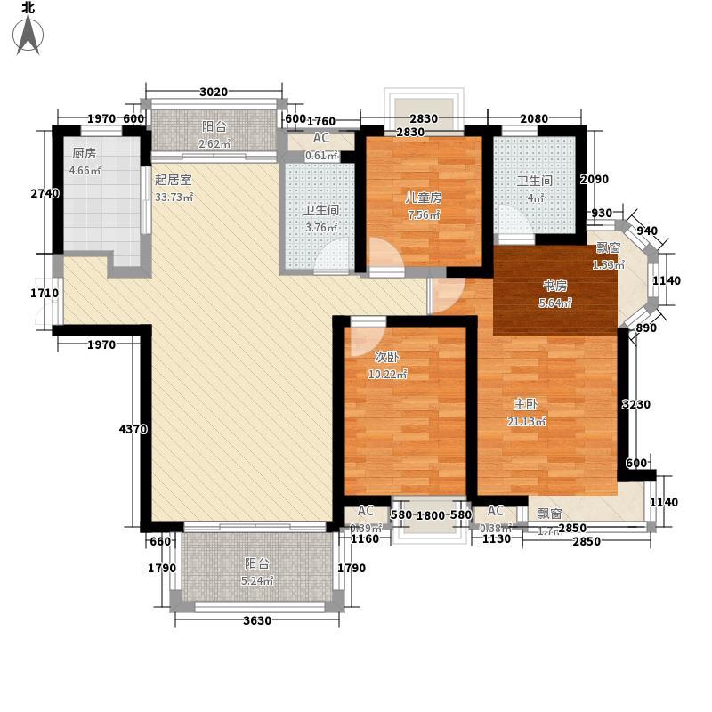 联发君悦朝阳137.10㎡一期高层B1户型3室2厅2卫1厨