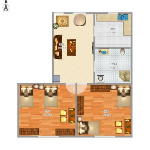 东五小区(虹口)2室1厅1卫1厨89.00㎡户型图