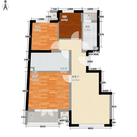 保利西山林语别墅3室1厅1卫1厨75.00㎡户型图