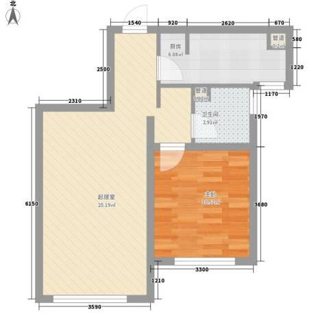 中冶世家水晶城1室0厅1卫1厨69.00㎡户型图
