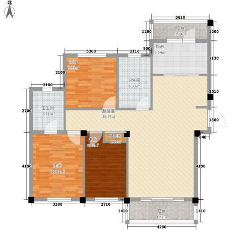 亿宸中央华府3室0厅2卫1厨122.00㎡户型图