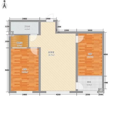 中研小区2室0厅1卫1厨98.00㎡户型图