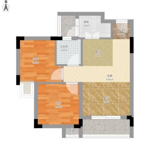 星座尚筑2室1厅1卫1厨64.00㎡户型图