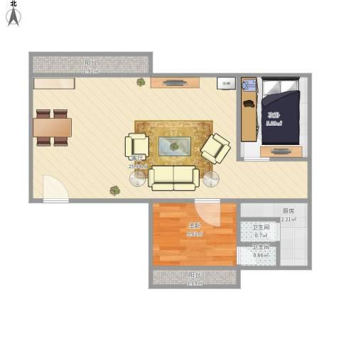 雍华园2室1厅2卫1厨59.00㎡户型图