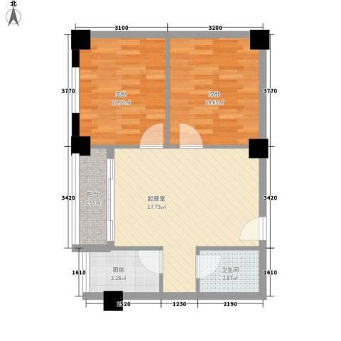 瘦西湖西苑2室0厅1卫1厨69.00㎡户型图