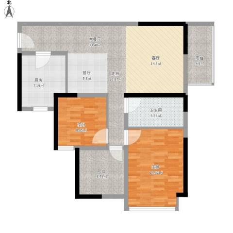 坪山招商花园城2室1厅1卫1厨114.00㎡户型图