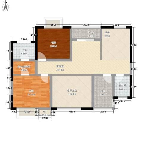 坤元水木清华2室0厅2卫0厨205.00㎡户型图