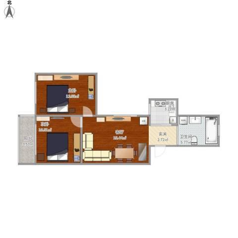 江桥二村2室1厅1卫1厨73.00㎡户型图
