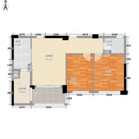 滨江城市之星2室0厅1卫1厨87.00㎡户型图