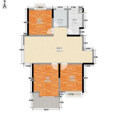 凤凰名城3室1厅1卫1厨127.00㎡户型图