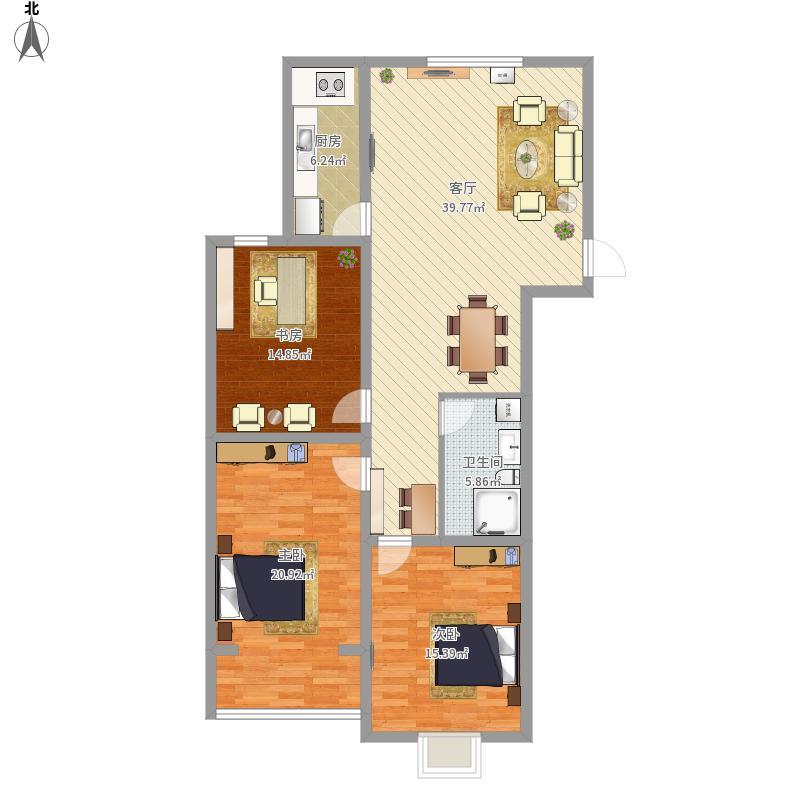 128㎡3室1厅1卫