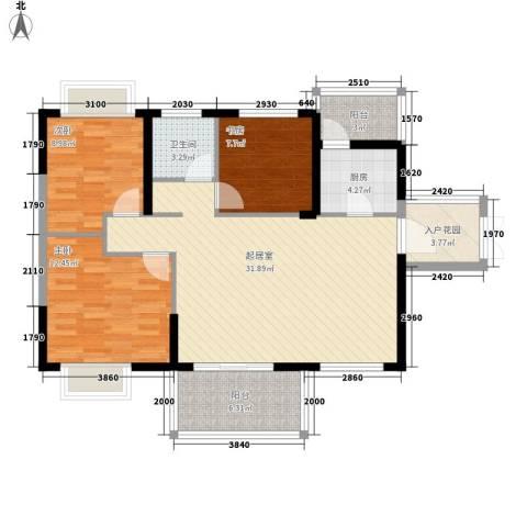 坤元水木清华3室0厅1卫1厨105.00㎡户型图
