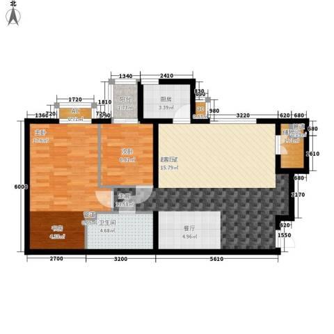 蔚蓝印象2室0厅1卫1厨95.00㎡户型图