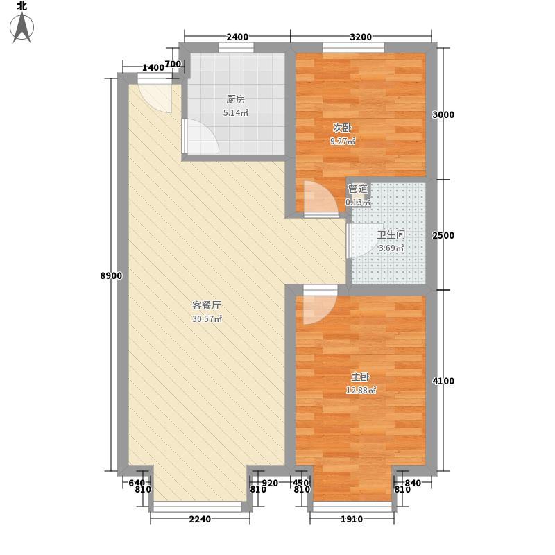 金华园82.15㎡B户型2室2厅1卫1厨