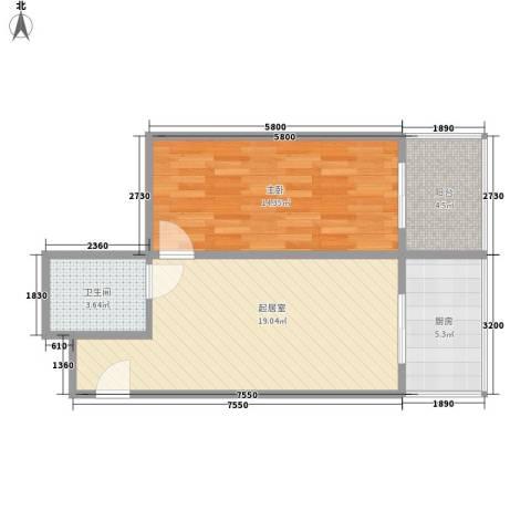 巧克力公寓1室0厅1卫1厨67.00㎡户型图