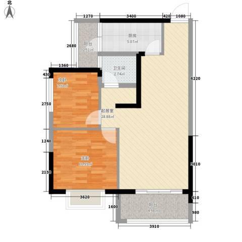 坤元水木清华2室0厅1卫1厨83.00㎡户型图