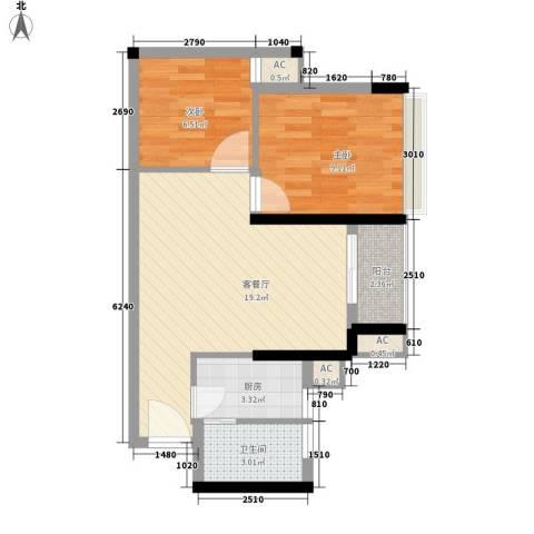 华侨新苑2室1厅1卫1厨55.00㎡户型图