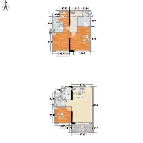 凤雅颂3室1厅3卫1厨94.00㎡户型图