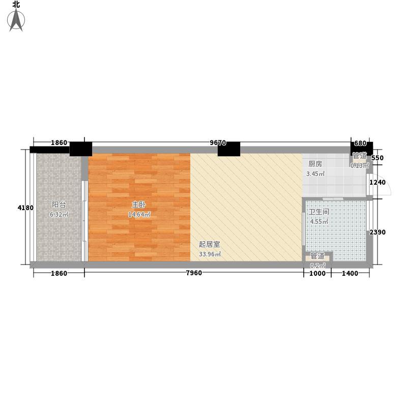 力合海景公寓A型户型1室1厅1卫1厨