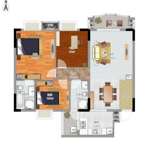 人和华夏城3室1厅2卫1厨117.00㎡户型图